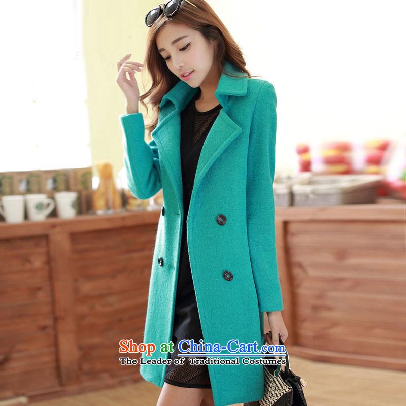 Sin has2015 autumn and winter new a wool coat Korean Sau San fleece thin graphics long hair? femaletnlw0509 jacketgreenXL