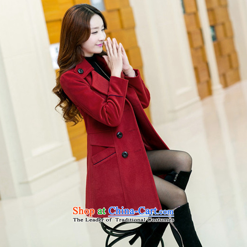 Sin has been Women Korean 2015 autumn and winter New Sau San? long coats Gross Gross large cashmere overcoat so Coat tn1234 female wine red XXL