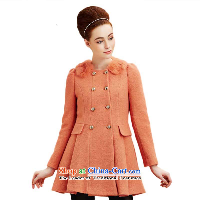 Chaplain Mai-mai _CHIU SHUI_ elegant double-rabbit hair stitching Sau San warm a wool coat Bare Metal Powder Toner_orange L 634112111