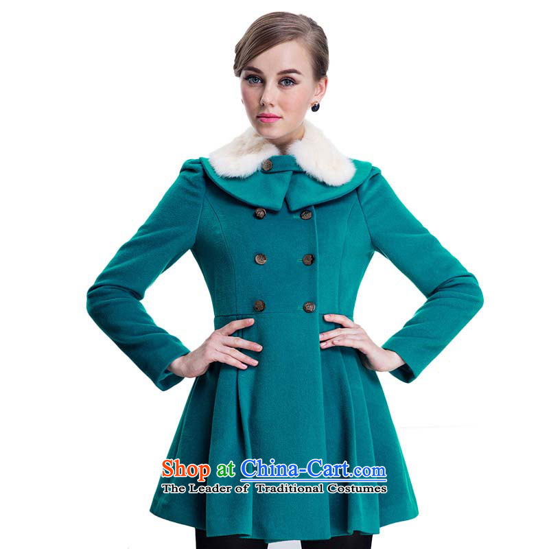 Chaplain Mai-mai _CHIU SHUI_ can be shirked rabbit hair for double-coats jacket, blue and green M 634112114