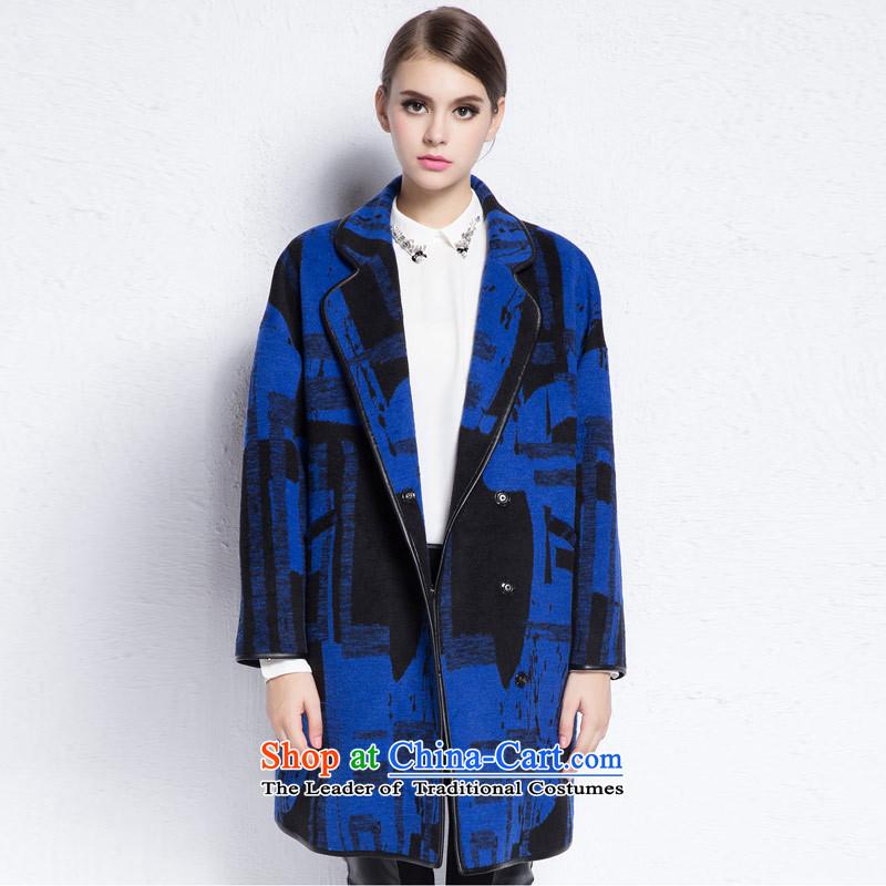 Hayek terrace _blue_ and multi-colored MAXILU loose coat trend of燤867C3081C61 L