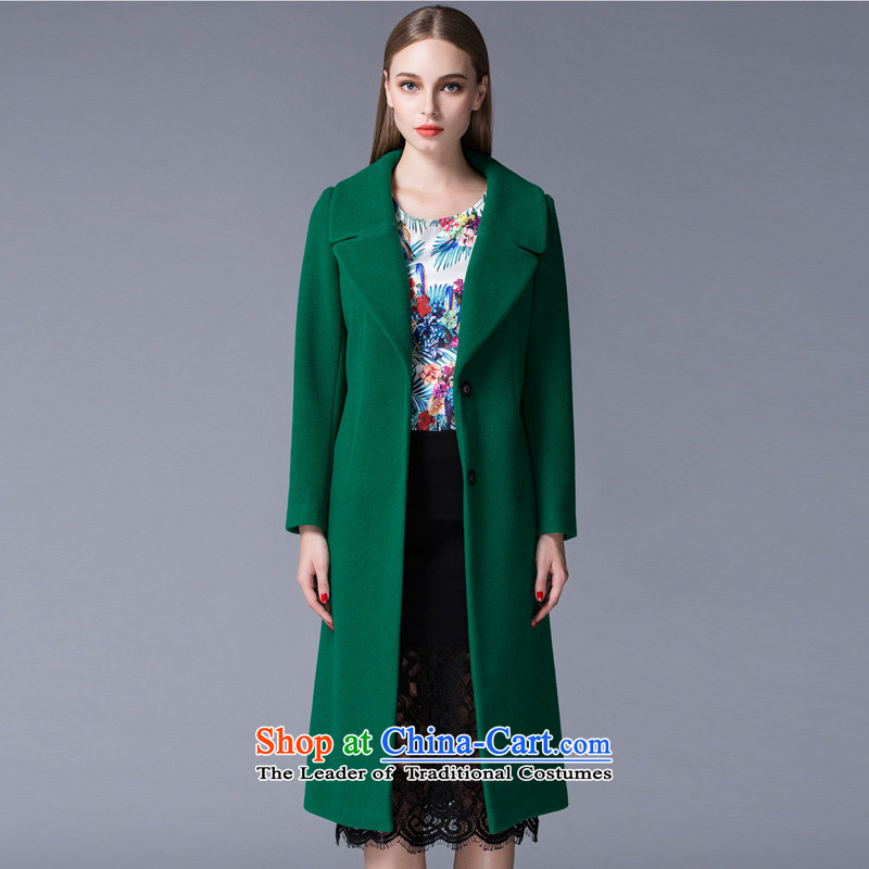 Arts _yiman Overgrown Tomb_ Dark green long coats燳867B4055C71 temperament M