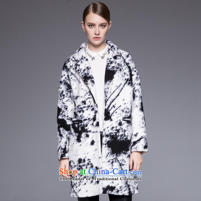 Hayek terrace _MAXILU_ black and white stylish coat燤867B4053C60 temperament XL