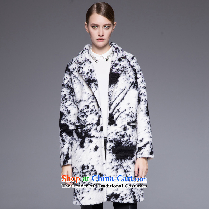 Hayek terrace _MAXILU_ black and white stylish coat燤867B4053C60 temperament L