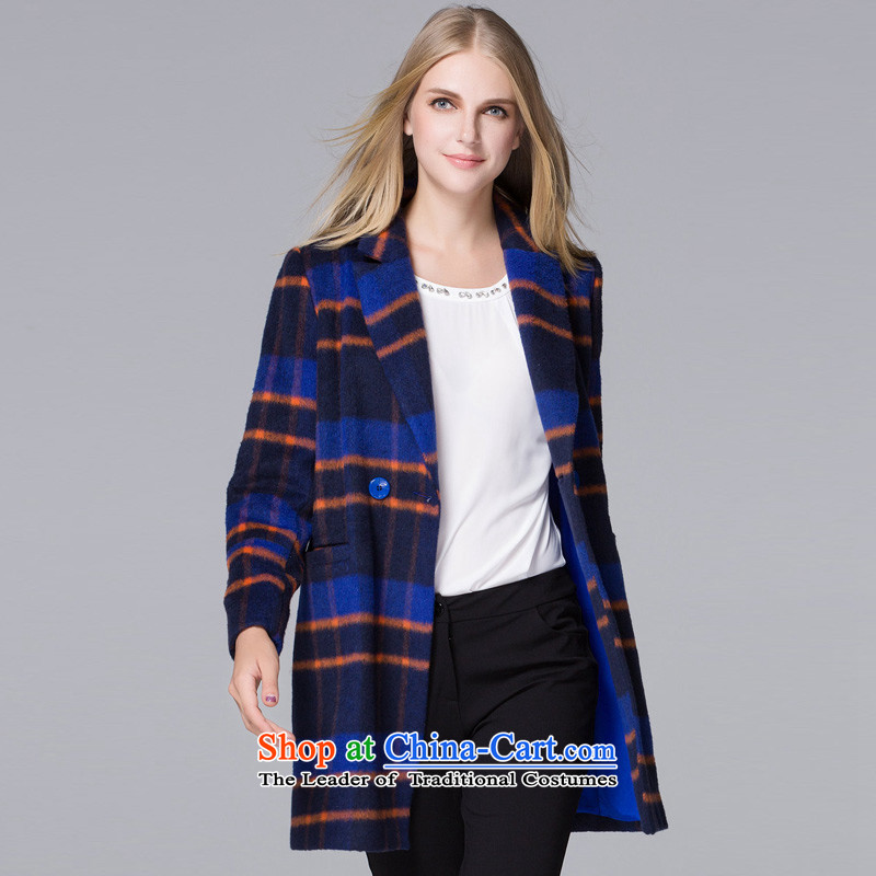 Hayek terrace _blue_ and multi-colored MAXILU latticed wild coats聽M867A5030C61 XL