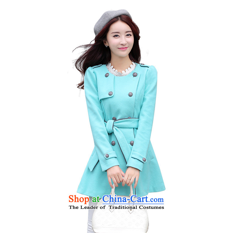 Mrs Fong _female_ F4343156 shunufang winter clothing new trend of elegant round-neck collar gross coats燣 of light and shadow? green