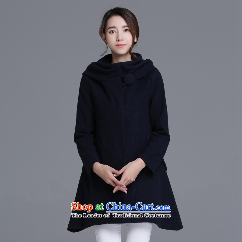 Strawman _MEXICAN_ 2015 autumn and winter coats new gross? female Sau San fashion, long coats female jacket聽QLJ981聽navy聽XXL