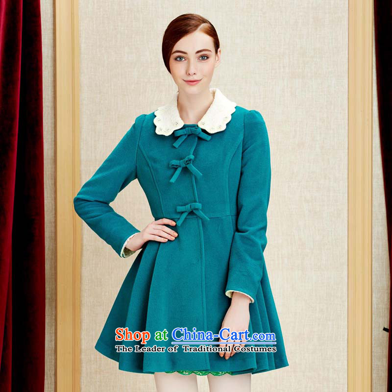 Chaplain Mai-mai _CHIU SHUI_ for a Bow Tie Sau San petals petticoats gross blue-green jacket coat? L 634112108