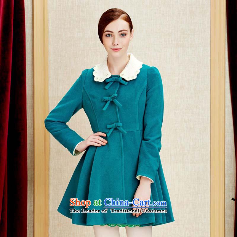 Chaplain Mai-mai _CHIU SHUI_ for a Bow Tie Sau San petals petticoats gross blue-green jacket coat? M 634112108