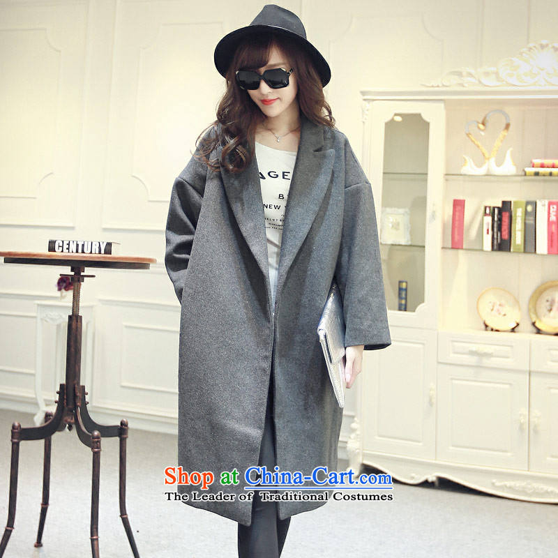 8 forged Kam (gross)? coats BETOUCH2015 autumn and winter new Korean double-jacket in gross? Long a wool coat the cotton female 8033A5D gray M