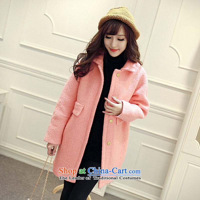 8 forged Kam _gross_? coats BETOUCH�15 autumn and winter in Korean long Leisure pure color female lapel large wool coat 8585A5D Sau San? orange L