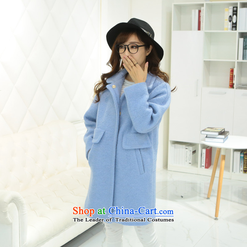 8 forged Kam _gross_? coats BETOUCH�15 autumn and winter in Korean long Leisure pure color female lapel large wool coat 8585A5D Sau San? light blue L