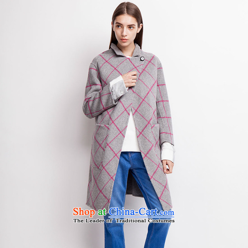 Send energy (EUROPRIMO) tether plaid double-side coats EUEQD515 light gray S