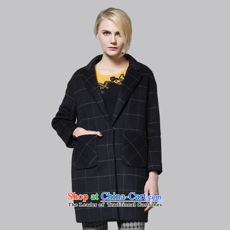 Leather dog8245001530possession of retro England blue plaid temperament110_XL woolen coat