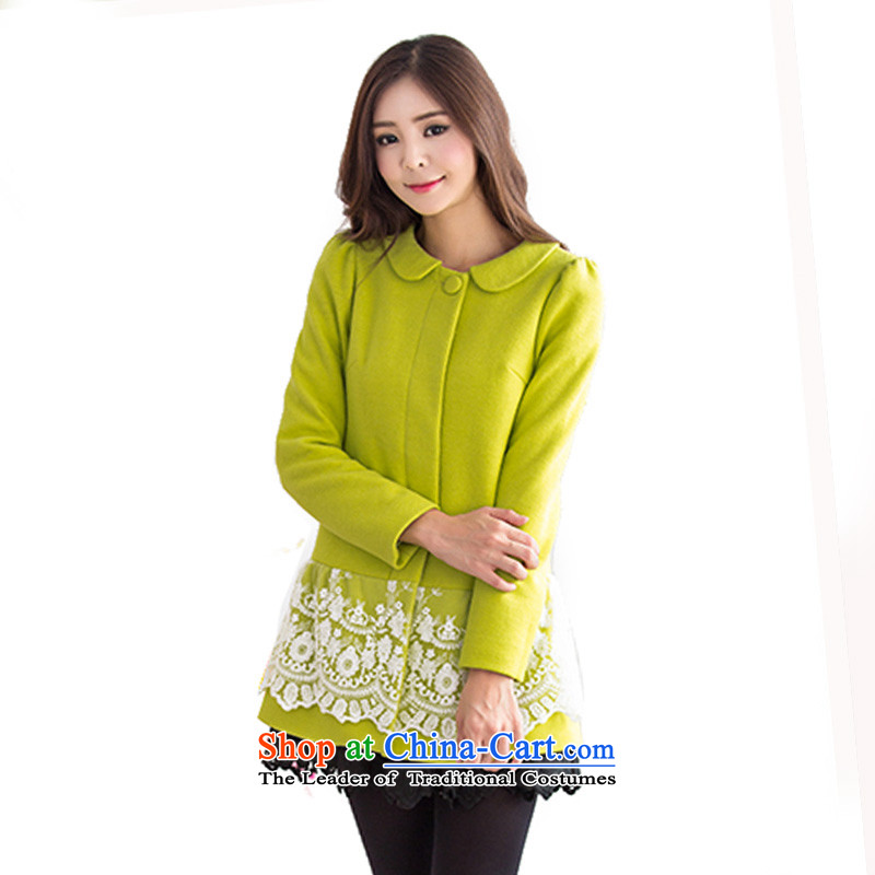 Mrs Fong _female_ 4846019 shunufang winter clothing new Peter Pan reverse collar in long hair? jacket燬燣yme green