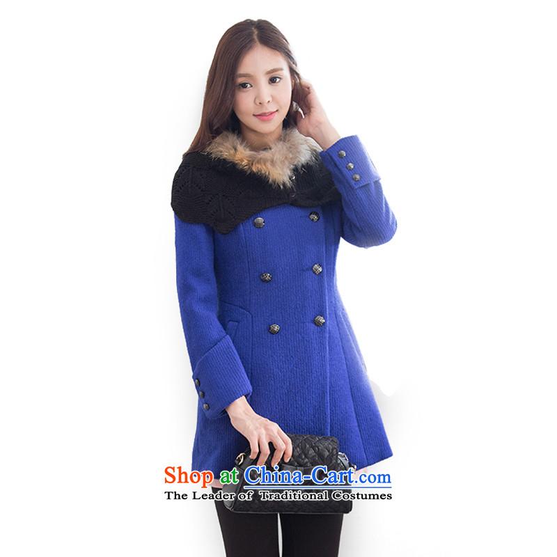 Mrs Fong _female_ 4846569 shunufang winter new stylish wild round-neck collar gross?聽S聽cobalt blue jacket