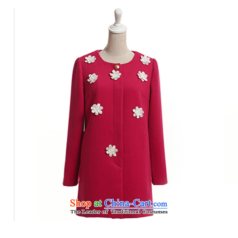 Mrs Fong _female_ 4846020 shunufang winter new stylish and simple round-neck collar jacket in red hair?燲L