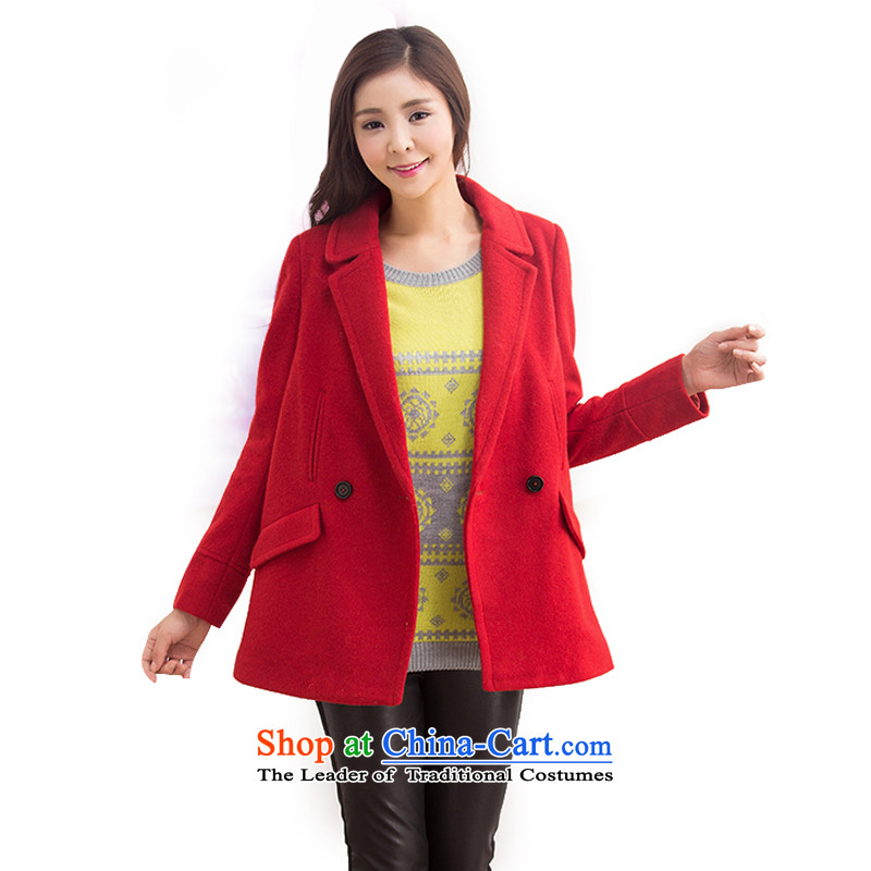 Mrs Fong _female_ 4846047 shunufang winter new stylish Wild Hair? wine red jacket燬