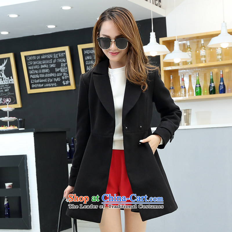 The trend爄n the Korean version of the front-line B5VPN086 long black jacket gross 01L_165_88A_?