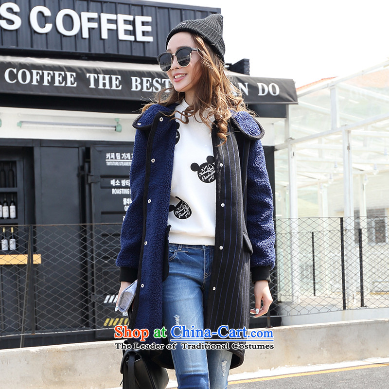 The trend of frontline K5WPN182women streaks in the lint-free with cap long coats_? 02M_160_84A_ blue