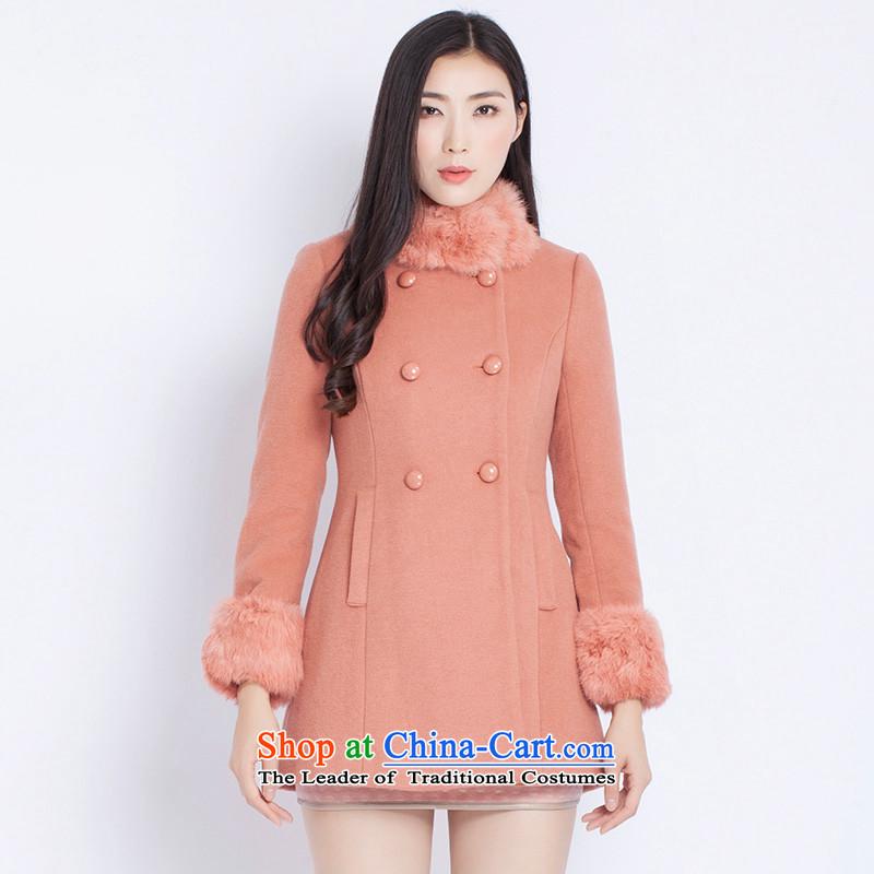 The war-hee (QS) fashion, double-rabbit hair Half CoatKAI103 Sau Santoner orange 38 160/84A