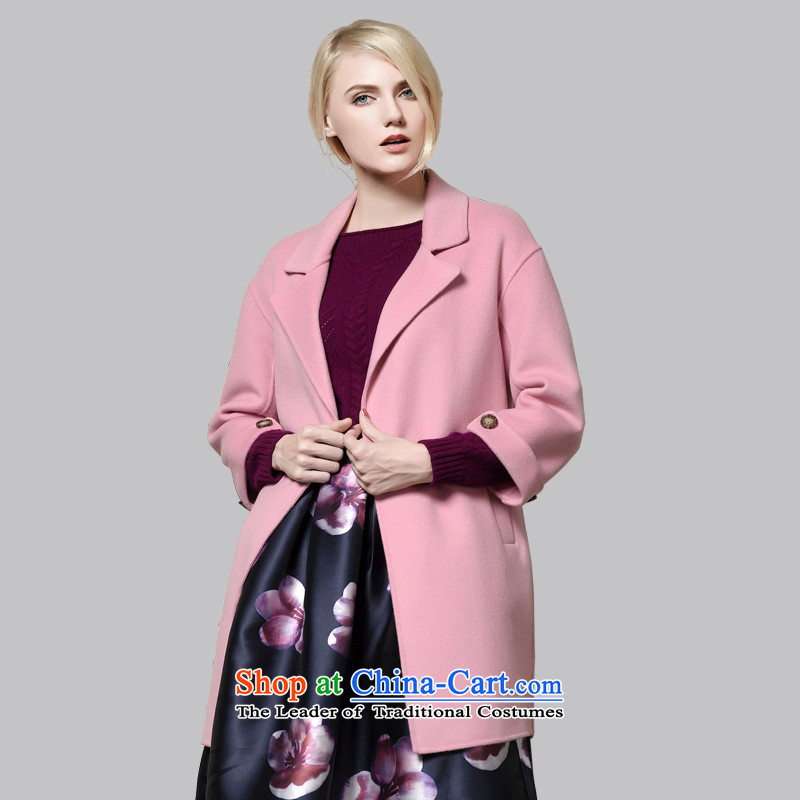 Leather dog聽8245003830聽of toner classic net double fastening Sau San woolen coat聽95_S