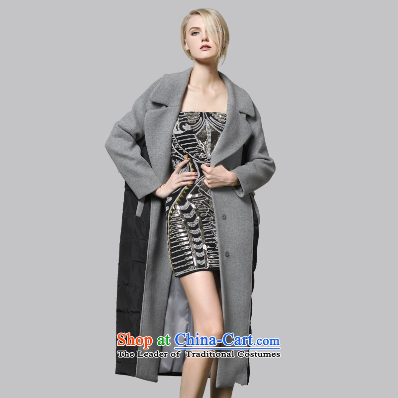 Leather dog爄n the commission gray Europe 8245003030 wind down cotton stitching long woolen coat�0_M