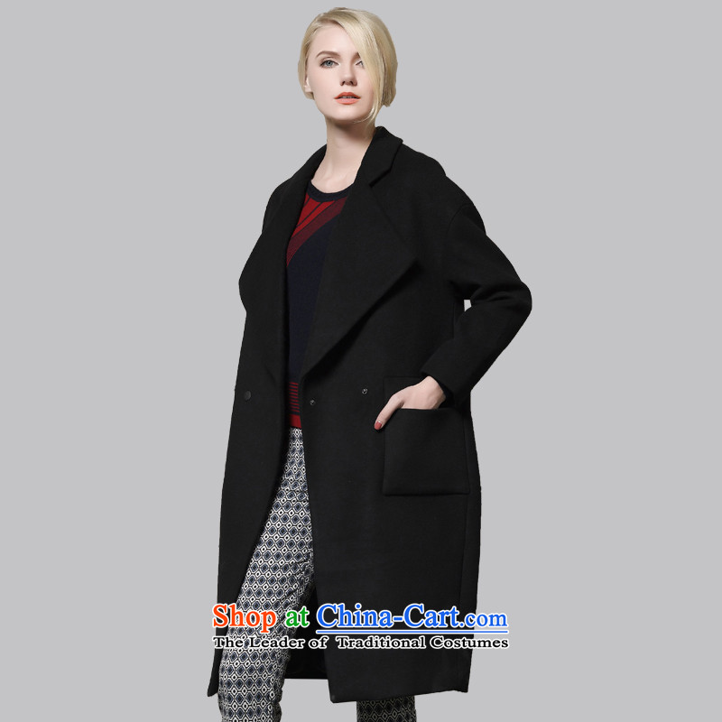 Leather dog8245002930Black classic reverse collar in the longer version of the woolen coat100_M