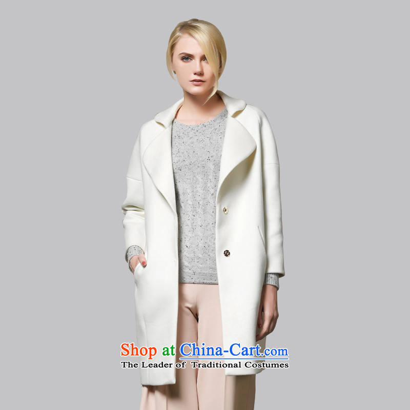 Leather dog�45002230爎ice white Western Wind minimalist net long version of the color woolen coat�_S