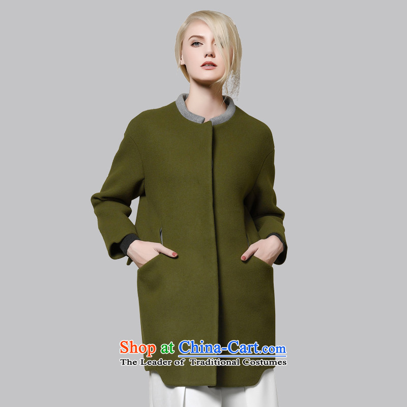 Leather dog 8245002830 Army Green round-neck collar cocoon-color plane collision wool coat 100_M female