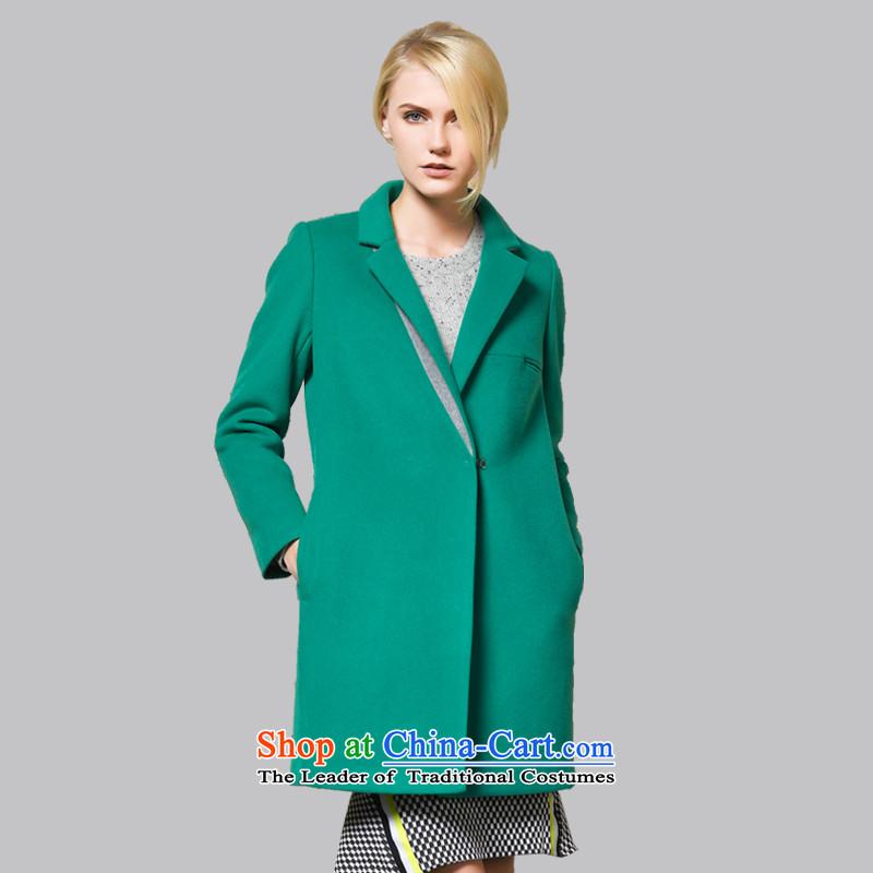 Leather dog�45001730爂rass green minimalist wild cocoon-net color woolen coat�_S