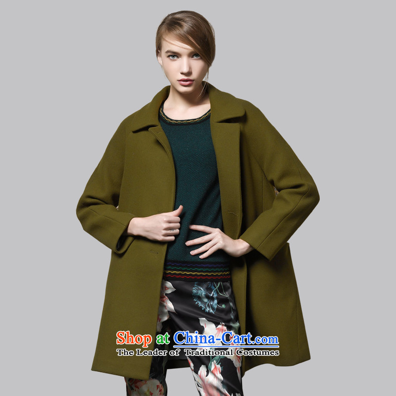 Leather dog�45002730燗rmy Green Classic double-knocked color woolen coat�_S Sau San