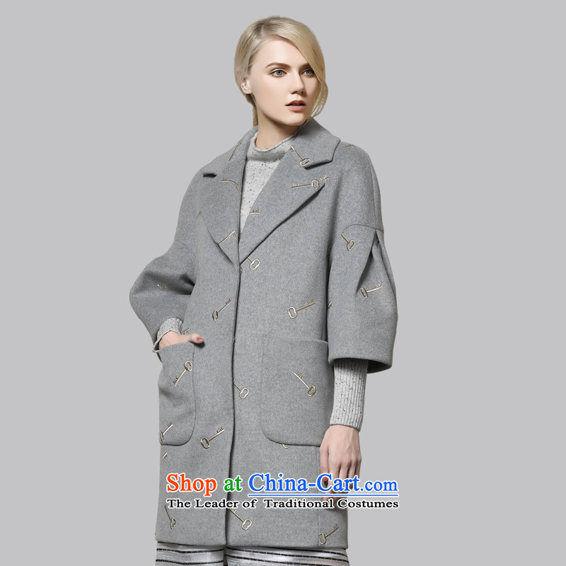 Leather dog 8245001230 . exquisite embroidery gray Ma Tei wild bubble seven cuff cocoon style woolen coat 95_S