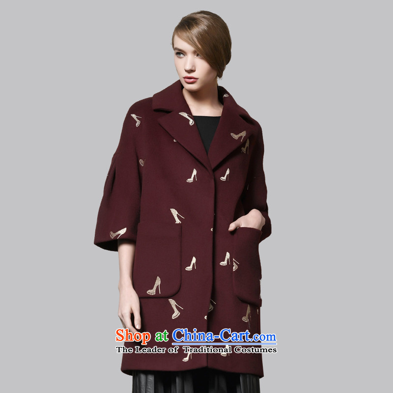 Leather dog�45001130爀xquisite wine red embroidery wild bubble seven cuff cocoon style woolen coat�0_XL