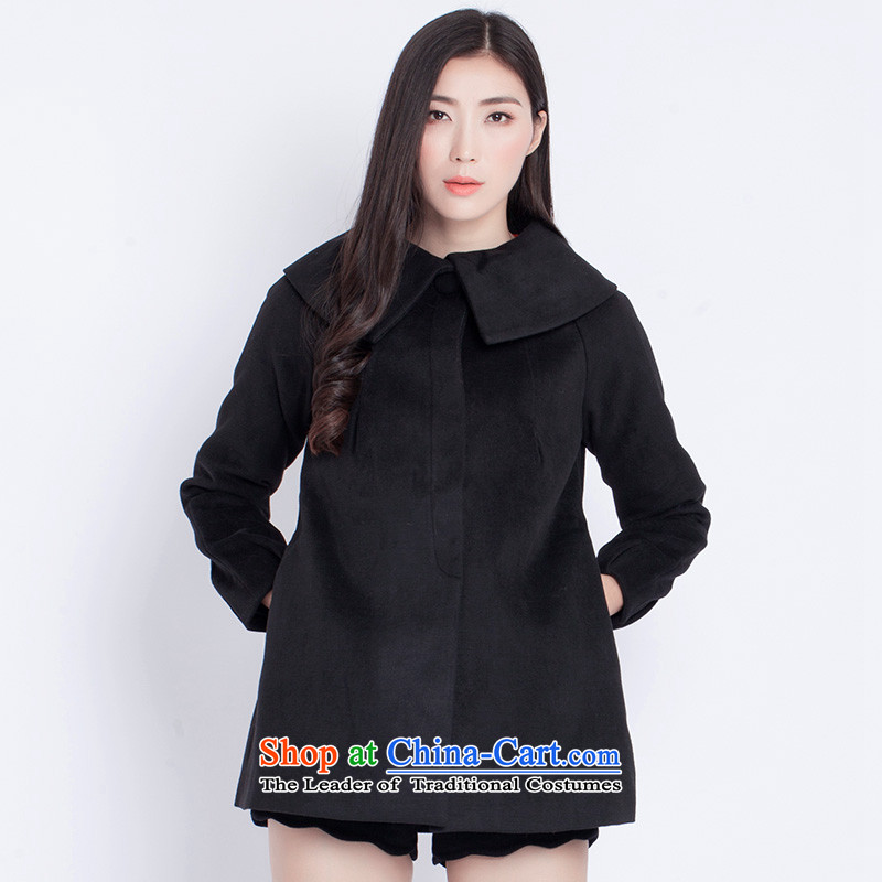 The war-hee _QS_ maximum reverse collar-rotator cuff A Swing Simple pure color coats JXE121 relaxd black 155_80A 36