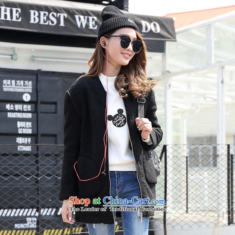 The trend of the front-line爄n the zipper womens K5VPN154 long stitching black jacket 01XL_170_92A_ gross?