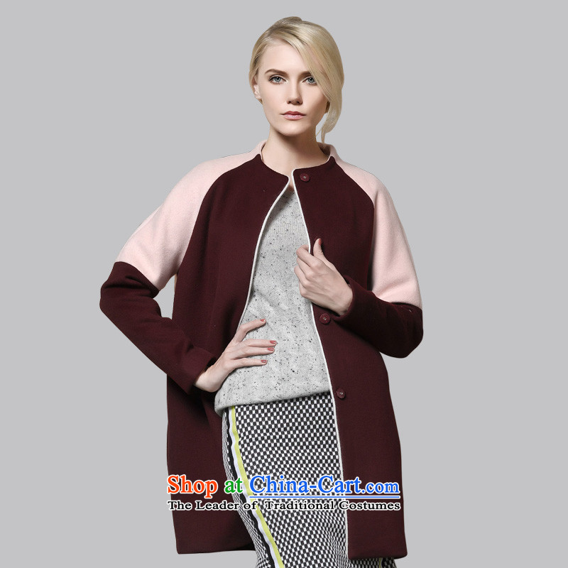 Leather dog8245001030wine red round-neck collar spell color-rotator cuff cocoon style woolen coat105_L