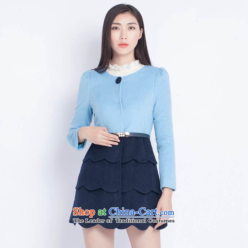 The war-hee (QS) round-neck collar sweet lace level sense knocked? coats KAI1A8 wool Color Blue + Blue 155/80A 36