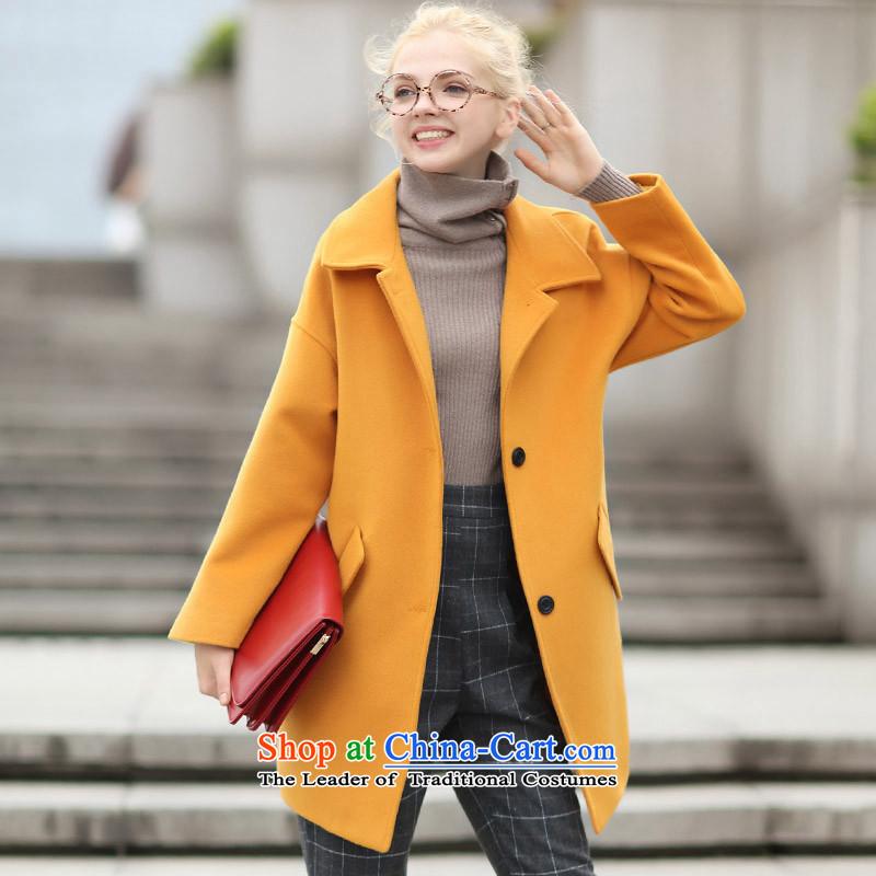Qigirl燾ocoon type long, wool coat燪G7197燘rown Huang? L