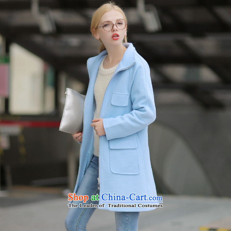 燭emperament long wool QIGIRL coats燪G7190?爈ight blue M