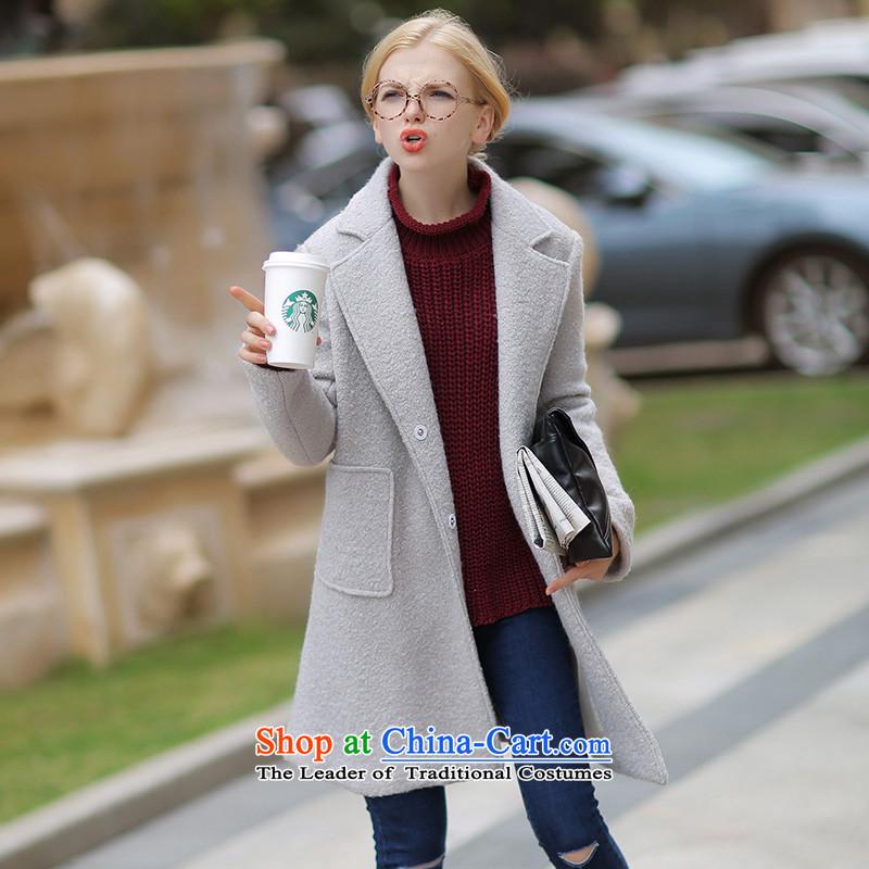 燱ool? leisure relaxd QIGIRL jacket coat燪G7195燝ray L