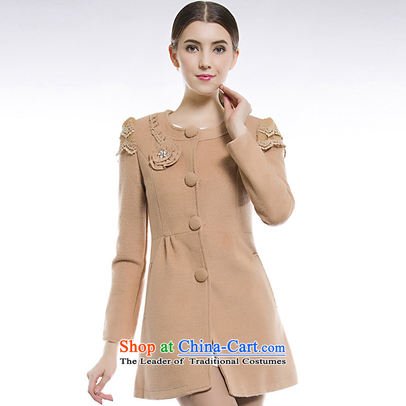 Blue silk Doi _lansda_ Plate flower wool coat 13414011013 and color? L