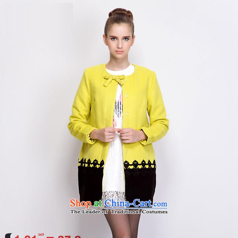 Aida Lin _ayilian_ Bow Tie stylish knocked color stitching stitching cocoon type long coats gross? lemon yellow M DS43397861