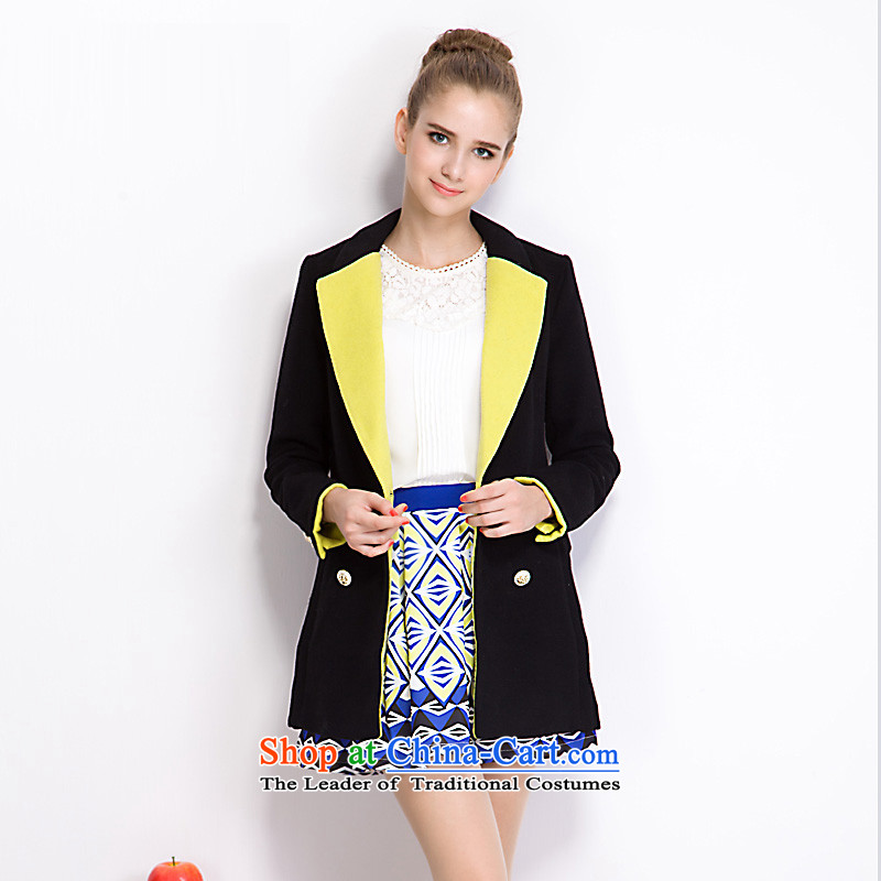 Aida Lin _ayilian_ Simple lapel knocked color in the double-long coats of black S DS43397925?