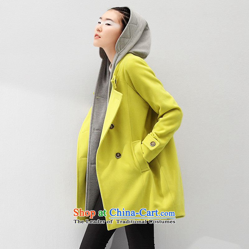 The early Arabic girl in gross? coats long thin stylish thickened Sau San video jacket female 8531224805 mustard green M