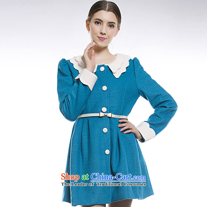 Blue silk Doi (lansda) double dolls collar coats L13414012040 gross? blue L