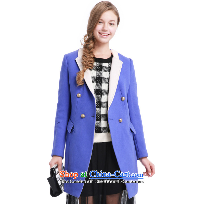 Song Leah _GOELIA_ autumn and winter, knocked? overcoat U41_ color blue M 13CC6E11AU41M