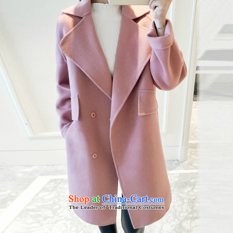Sin has the European site 2015 new autumn and winter Korean double-side in long hair a jacket cocoon wool-coatszx15102602 gross?and pinkM