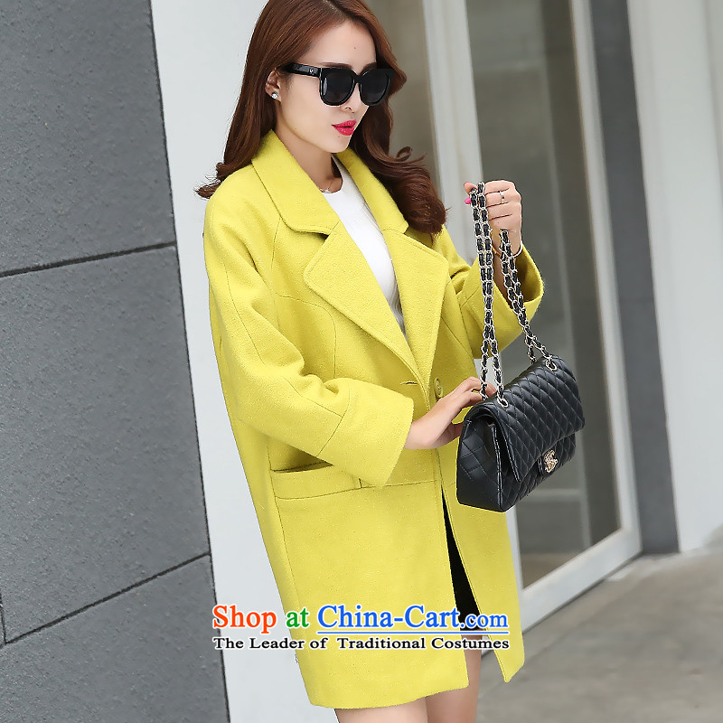 Sin has 2015 autumn and winter new Korean fan Sau San video skinny Heung-wind-up in gross? jacket long a wool coat tn050  yellow S