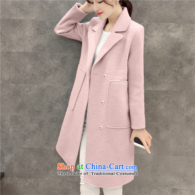 Sin has been gross girls jacket? Long Korean Sau San video thin 2015 autumn and winter new temperament women han bum a wool coat TNOXN6639 pink燤